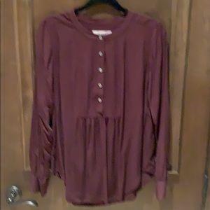 Loft deep burgundy blouse